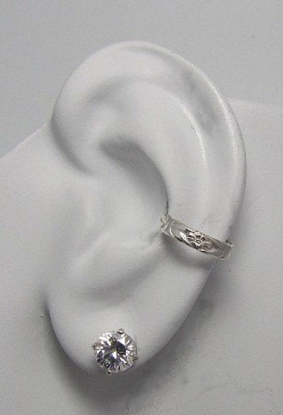 Ear Cuff Silver Non-pierced Cartilage Wrap Earring Fake Conch No Piercing Cuff Earring Simple Earcuff Cuff Faux Pierced Floral Cuff E124SS