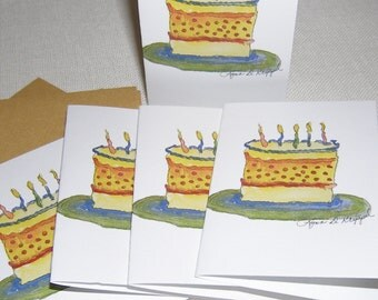 Birthday Note Cards  set of 5