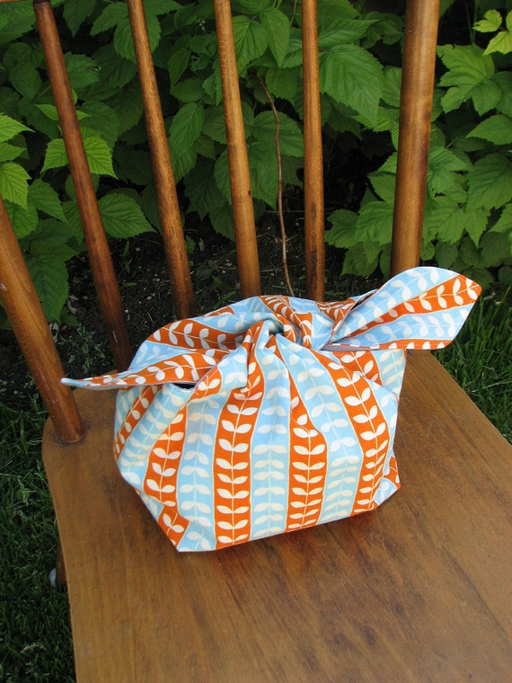 hobo lunch sack in blue and orange vines