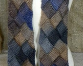 Entrelac Scarf in Blue and Brown