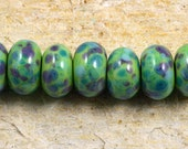 Reserved for Judy Put a Lime in Your Luau Handmade Glass Lampwork (7) Beads by Pink Beach Studios - SRA