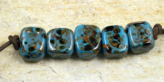 Chunky Tortoise Shell in Blue Block Lampwork Beads by Pink Beach Studios - SRA