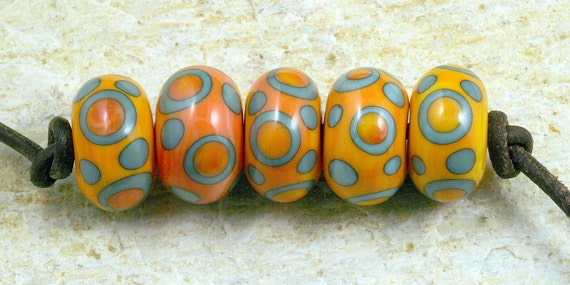 Apricot and Copper Green Handmade Glass Lampwork Beads (5 Count) by Pink Beach Studios