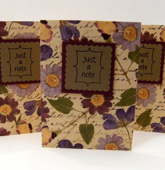 Cards - Pressed Flowers - Handwriting - Just a Note (Set of 3)