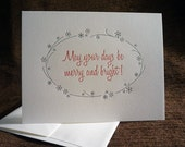 Merry And Bright letterpress folded notes
