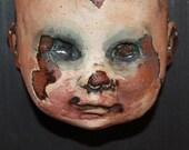 Halloween Dark Surreal Art ORIGINAL SCULPTURE fine art Doll Head Merrymaker Clown Sculpture OOAK