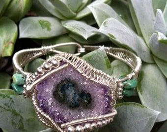 Amethyst Stalactite Wire Wrapped Bracelet
