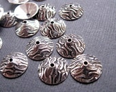 Silver Plated Thin Bead Caps - Ocean Waves Pattern - 10mm - 20 Pieces