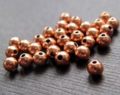 Genuine Copper Bright Round Beads - 4mm - 25 Beads