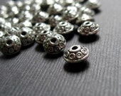 Fancy Antiqued Silver Plated Rondelles - 6x4mm - 20 Beads