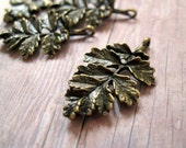 5 Antiqued Brass - Ruffled Fern Leaf Focal - 30mm - It's like GETTING ONE FREE