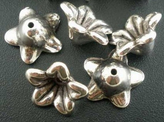Silver Plated Flowers - Antiqued - 18 Pieces