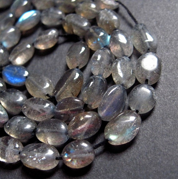 Dark Labradorite Baroque Oval Beads - 10 to 12mm - 7 Inch Strand