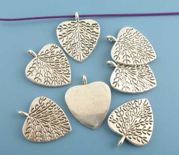 My Heart Has Set Down Roots - Silvertone Heart Charms - 4 Pieces