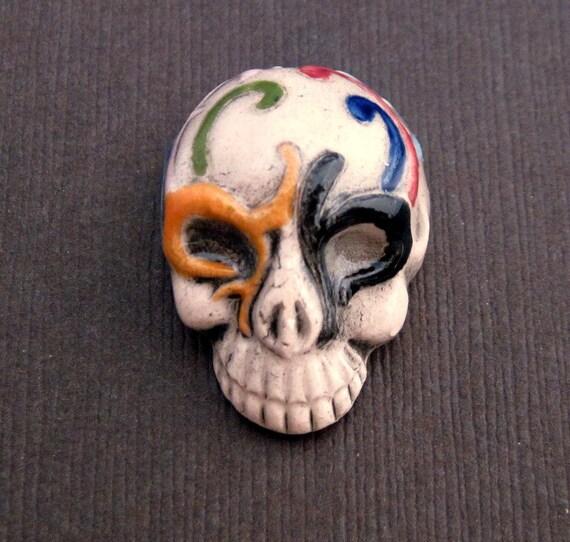 Porcelain Skull Pendant - Multi Color - 21x28mm - One Piece