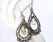 Artisan Lemon Quartz and Sterling Silver Teardrop Earrings, Wire Wrapped, Handmade