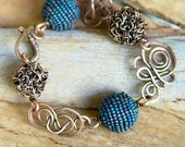 Artisan Earthy Copper Bracelet, Handmade Beads and Freeform Links, Wire Wrapped