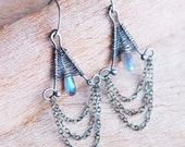 Artisan Woven Chandelier Earrings with Labradorite in Sterling Silver