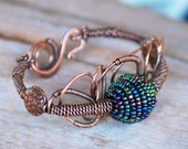 Artisan Copper Bangle with Handmade Iris Focal Bead OOAK