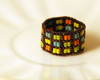 Colored Squares Beaded Ring - Tiny Size 15 Beads - Yellow, Green, Orange and Blue