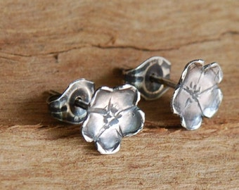 Artisan Cherry Blossom Earring in Oxidized Sterling Silver