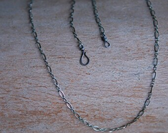 Sterling Silver Chain with Handmade Hook - Long and Short Links