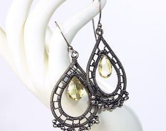 Artisan Lemon Quartz and Sterling Silver Teardrop Earrings, Wire Wrapped, Handmade