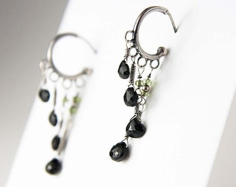 Artisan Sterling Silver Hoop Post Earrings with Black Tourmaline and Peridot - Black Waterfall