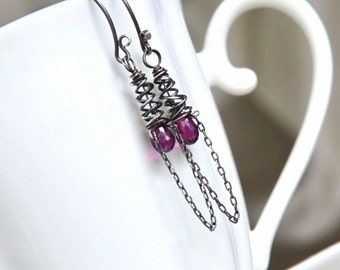 Artisan Rhodolite Garnet and Sterling Silver Openwork Cone Earrings