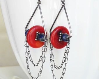 Artisan Coral and Lapis Lazuli Earrings in Sterling Silver