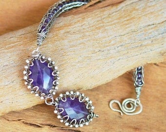Artisan Viking Knit Bracelet - Sterling Silver and Amethyst