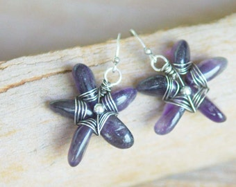 Artisan Amethyst and Sterling Silver Earrings - Starfish
