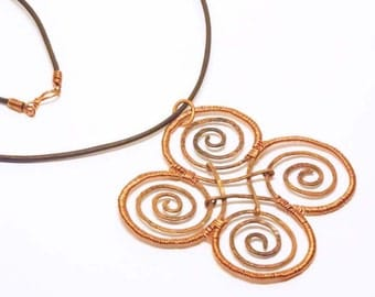Artisan Copper Pendant - Four Spirals, Large, Wire Wrapped