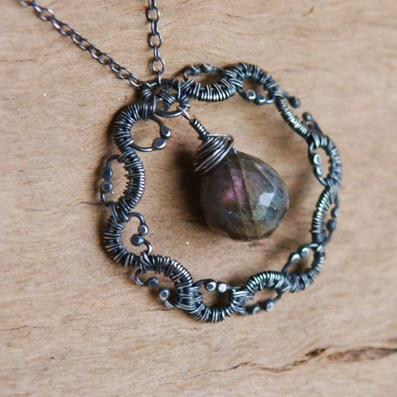 Labradorite and Sterling Silver Necklace, Woven, Wire Wrapped, Artisan