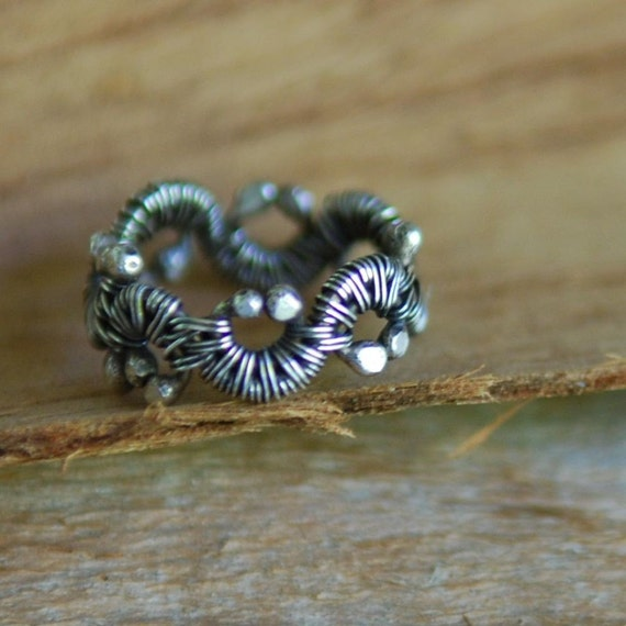 RESERVED - Artisan Sterling Silver Woven Vine Ring, Handmade, Wire Wrapped