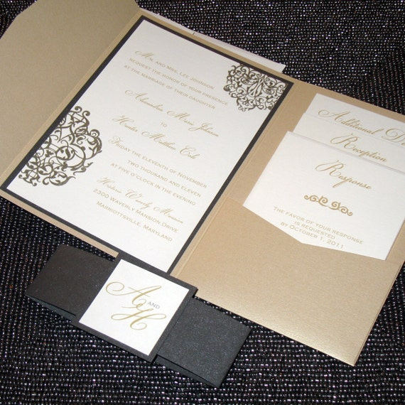 Metallic Pocketfold Wedding Invitation  - Elegant Scrolls Sample