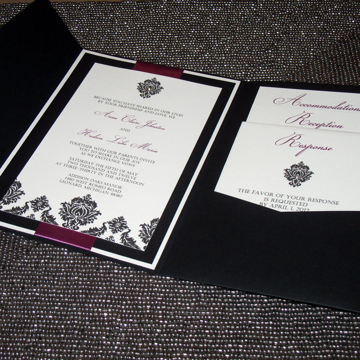 Diamond Wedding Invitation Label: Diamond Damask Wedding Invitation Pocketfold Sample