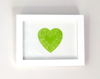 Lace Heart Letterpress Print 5x7 (key lime green) LAST ONE