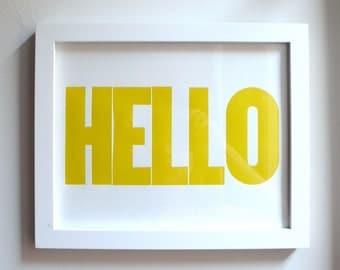 HELLO Letterpress Print 8x10 Yellow