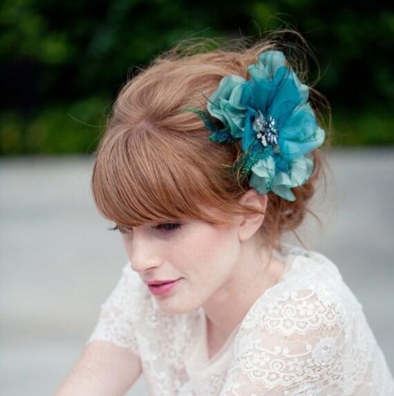 Bridal Hair Flower, peacock feather flower, hair clip, Something blue, Ships Immediately