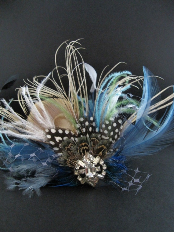 KATRINA, CUSTOM ORDER RESERVED FOR AEVAN, bridal, hair piece, fascinator, peacock feathers, vintage veiling