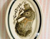 Victorian Crow Gentleman Hand Painted Vintage Plate
