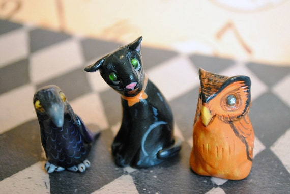 Crow Owl and Cat - 3 Hand Sculpted Halloween Miniatures