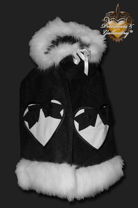 Faux Fur Hooded Scarf with Heart Pockets -Black/White Trim with Black Bows