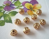 Vintage Lucite 8mm Fluted Gold Beads - Rounds 10