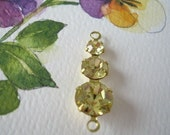 2 Daffodil Yellow Vintage Swarovski Connector Drops Brass Findings Jonquil