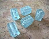 10 Vintage Confetti Lucite Beads Ice Blue Silver Glitter