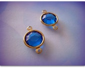 Pair Vintage Swarovski 2 Loop Connectors Drops Capri Blue  Gold Plated Channel Set Charms