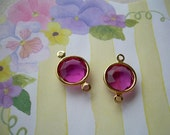 2 Vintage Swarovski Connectors Fuchsia Pink Drops Charms Gold Plated