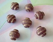 7 Vintage Lucite Artisan Beads Plum Purple Ancient Urns